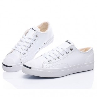 Converse Jack Purcell 1970 Soft Nap Inside Low Top White Leather Winter Sneakers