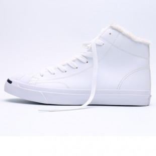Converse Jack Purcell Zipper 1970 Soft Nap Inside High Top White Leather Winter Sneakers