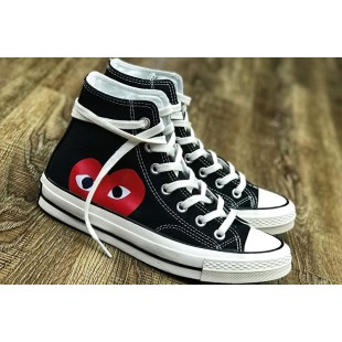 CDG PLAYx Converse Chinatown Market Red Heart Chuck Taylor Black High