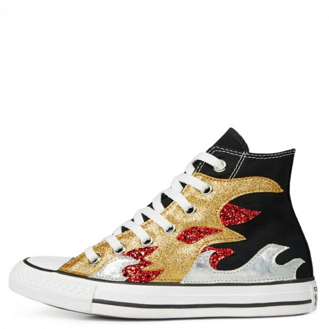 Converse Chuck Taylor All Star Glitter Flame High Top BLACK GLITTER FLAME 165756C