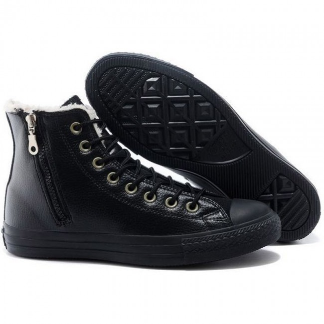 Classic Converse All Star Soft Nap Inner Side Zipper Leather High Tops Black Winter Boots