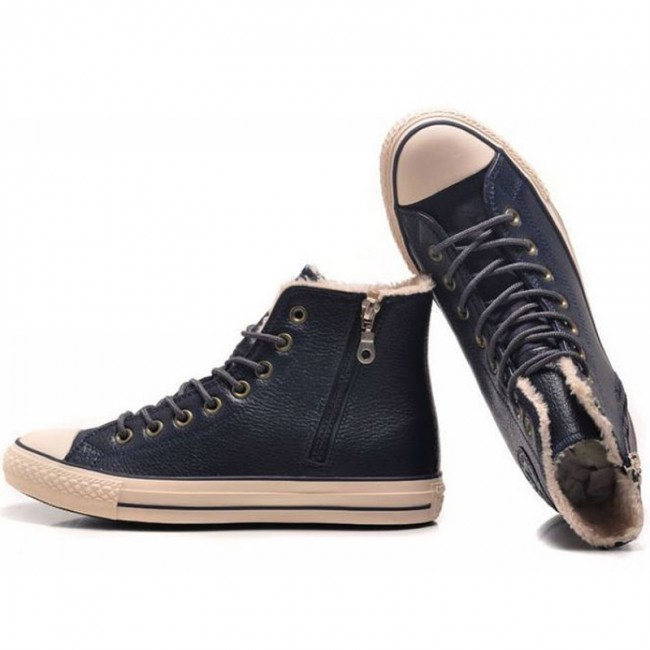 Classic Converse All Star Soft Nap Inner Side Zipper Leather High Tops Navy Winter Boots