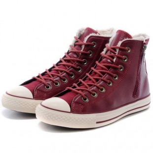 Classic Converse All Star Soft Nap Inner Side Zipper Leather High Tops Red Winter Boots