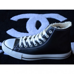Classic Converse Leather Chucks Soft Nap Inside Velvet Black High Tops Winter Boots