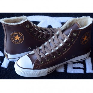 Classic Converse Leather All Star Chucks Soft Nap Inside Velvet Brown High Tops Winter Boots