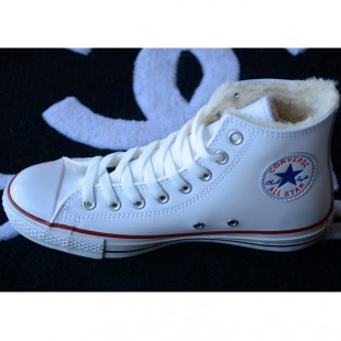 Classic Converse Leather Chucks Soft Nap Inside Velvet White High Tops Winter Boots