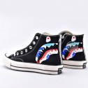 Converse Shark BAPE x Mastermind Japan High Tops Black White Canvas Shoes