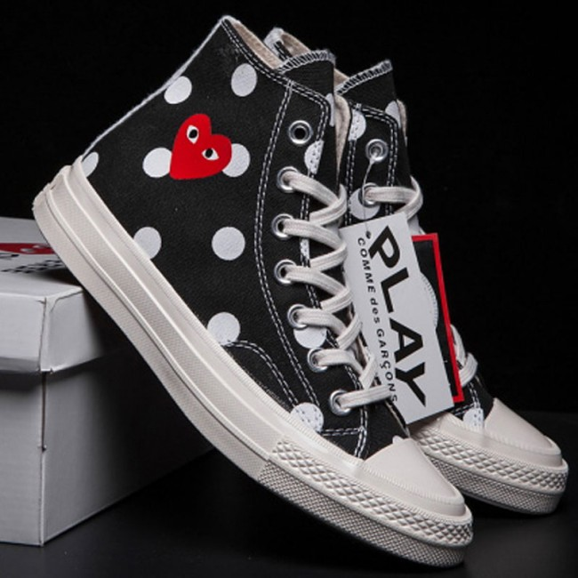 Converse 1970s Black Comme Des Garcons Polka Dot Play All Star High Tops Sneakers