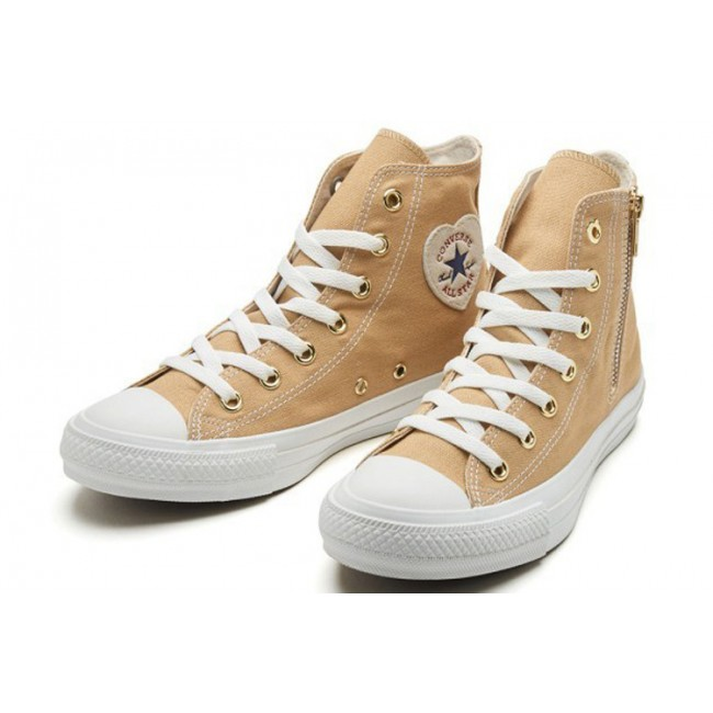 Converse ALL STAR HEARTPATCH Zip Heart Casual Style Plain Khaki High