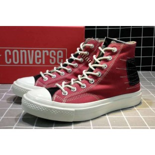 Converse All Star Chucks 1970s NBHD Patch & Darn High Red Shoes