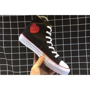 Converse All Star HEART PATCH High Casual Black Canvas Chucks Sneakers