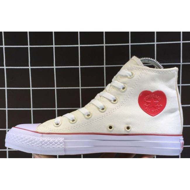 Converse All Star HEART PATCH High Casual White Canvas Chucks Sneakers