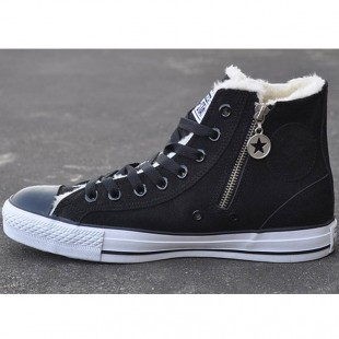 All Star Zipper Side Chucks Soft Nap Inside Black High Suede Winter Boots