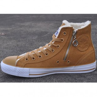 Converse All Star Zipper Side Chucks Soft Nap Inside Brown High Suede Winter Boots