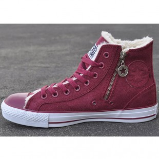 Converse Zipper Side Chucks Soft Nap Inside Wine Red High Suede Winter Boots