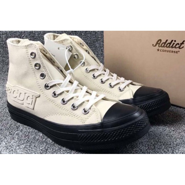 Converse CGD Beige Chuck Taylor All Star Black Rubber Sole High Tops Sneakers