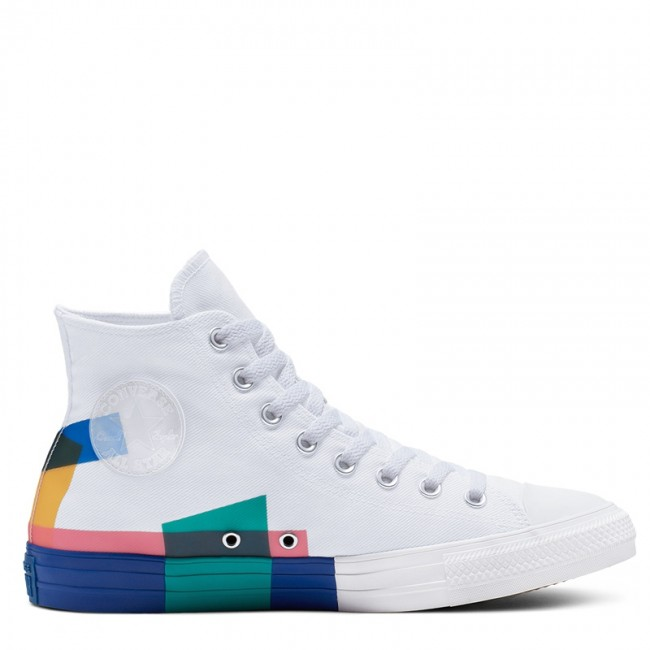 Converse Chuck Taylor All Star Space Racer High Top White Blue Enamel Red Canvas Shoes