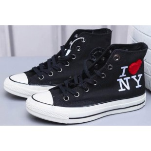 Converse Chucks All Star 1970S Lovely Red Heart I Love NY Black High