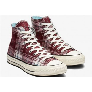 Converse x Chiara Plaid Wine Red Retro Chuck Taylor 70 Hi All Star