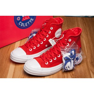Converse x Colette x Club 75 All Star Red High Suede Sneakers