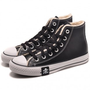 MMJ Converse Skull Chucks All Star Winter Soft Nap Inner Leather High Tops Black Boots