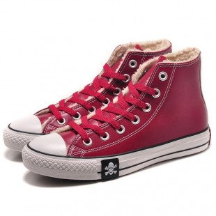 MMJ Converse Skull Chucks All Star Winter Soft Nap Inner Leather High Tops Red Boots