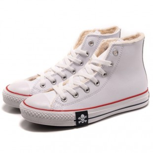 MMJ Converse Skull Chucks All Star Winter Soft Nap Inner Leather High Tops White Boots