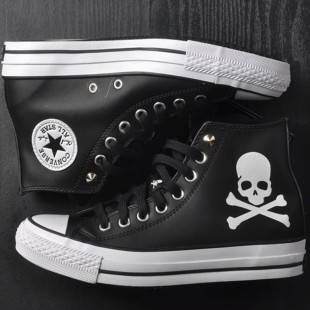 Mastermind JAPAN x Converse MMJ Creaking Skull Chucks All Star High Tops Black Leather Sneakers