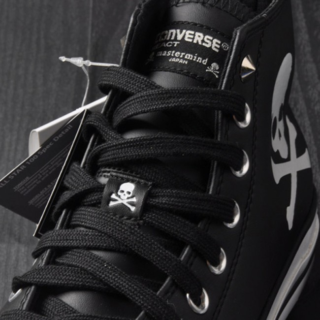 2a429125beae95 ... Mastermind JAPAN x Converse MMJ Creaking Skull Chucks All Star High  Tops Black Leather Sneakers ...