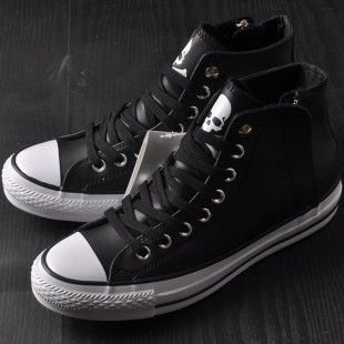 Mastermind JAPAN x Converse MMJ Zipper Chucks All Star High Tops Black Leather Sneakers