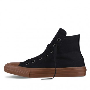 Monochrome Converse All Star Chucks II Gum Black High Top Canvas Sneakers