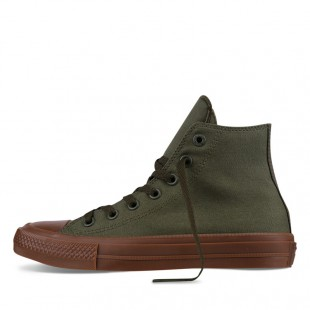 Monochrome Converse All Star Chucks II Gum Olive High Top Canvas Sneakers