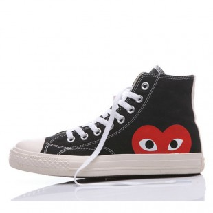 The Originer Converse Comme des Garcons Play Red Heart Big Eyes Black High Top Shoes