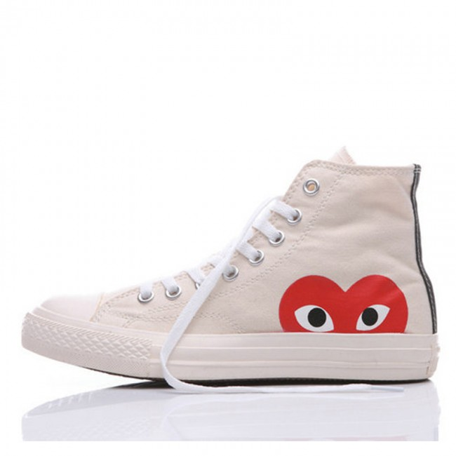 The Originer Converse Comme des Garcons Play Red Heart Big Eyes White High Top Shoes