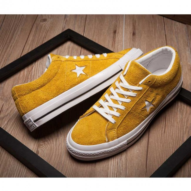 CONS SKATEBOARDING Pro One Star Chucks Tree Stars Low Tops Yellow Suede Sneaker