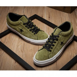 CONS SKATEBOARDING Pro One Star Chucks Tree Stars Low Tops Army Green Suede Sneaker