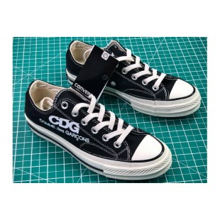 COMME DES GARCONS Converse All Star Casual Black Canvas Chucks Low Sneakers
