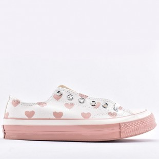 Converse 1970S Chuck Love Heart Graphic Pattern Fashion Pink Women Shoes