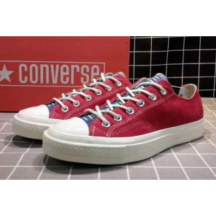 Converse All Star Chucks 1970s NBHD Patch & Darn Low Red Shoes