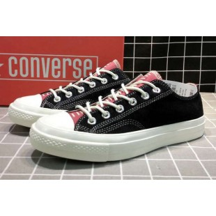 Converse All Star Chucks 1970s NBHD Patch & Darn Low Black Shoes