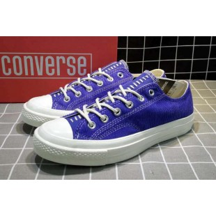 Converse All Star Chucks 1970s NBHD Patch & Darn Low Blue Shoes