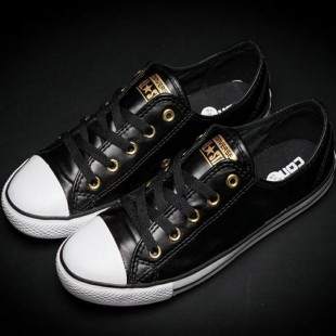 Converse All Star Chucks Low Tops Black Leather Thin Soled Shoes