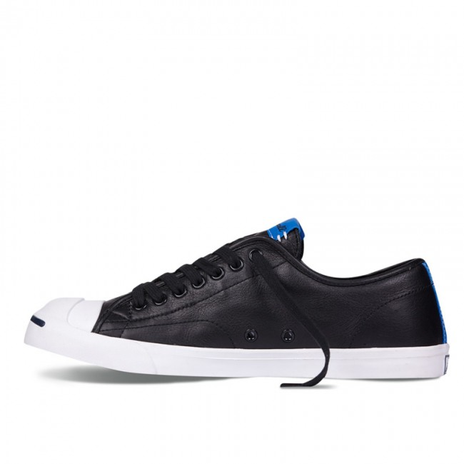 Converse Blue Stripe Jack Purcell Leather Black Low Top Sneakers