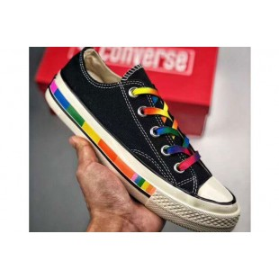 Converse Chuck 1970S Rainbow Limited Black Canvas Low Tops