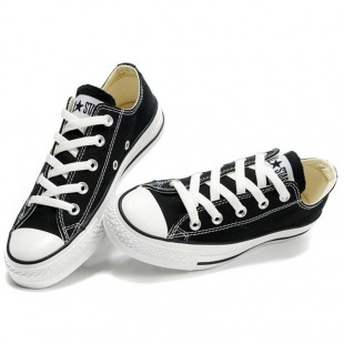 Classic Chucks All Star Low Top Optical Black Canvas Sneakers