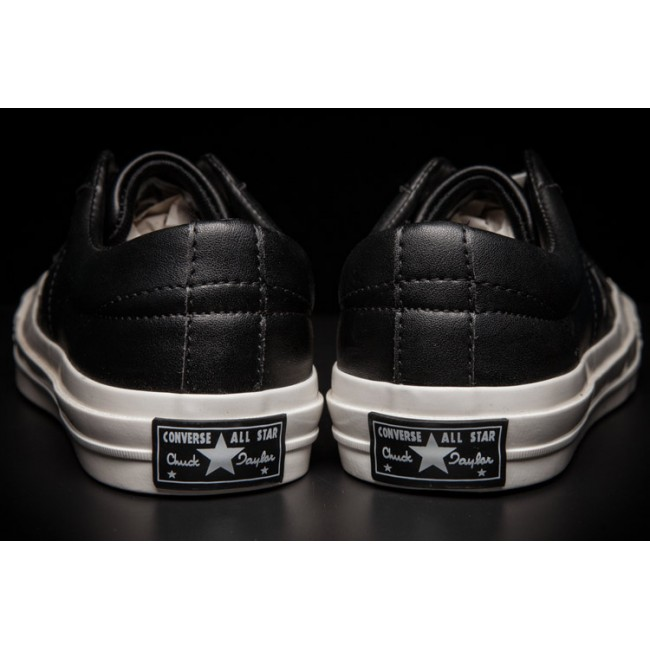 Converse Retro One Star Chucks Low Black Leather Shoes