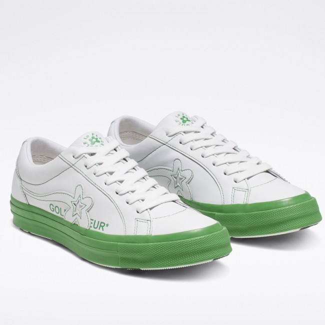 Converse x GOLF le FLEUR Colorblock One Star Low Top Unisex White Green Leather Shoes