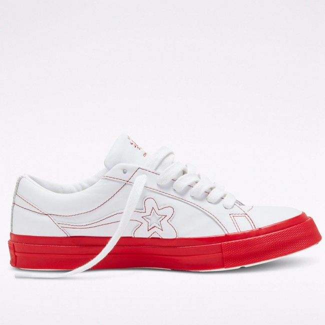 Converse x GOLF le FLEUR Colorblock One Star Low Top Unisex White Red Leather Shoes