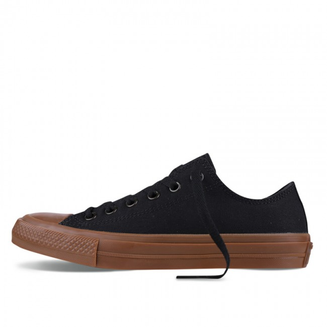 Monochrome Converse All Star Chucks II Gum Black Low Top Canvas Sneakers