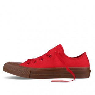Monochrome Converse All Star Chucks II Gum Red Low Top Canvas Sneakers